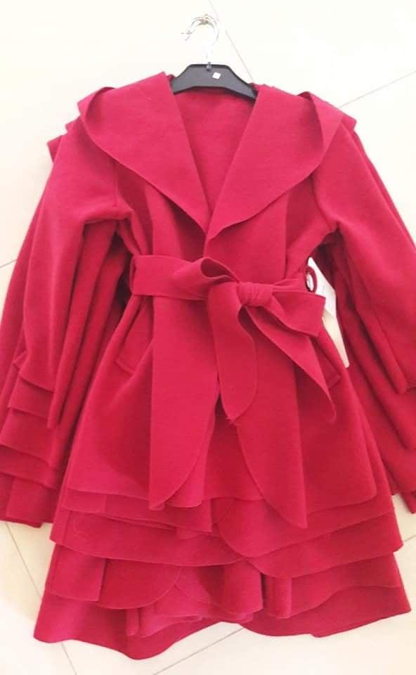 Prechodný červený flaušový kabátik  116