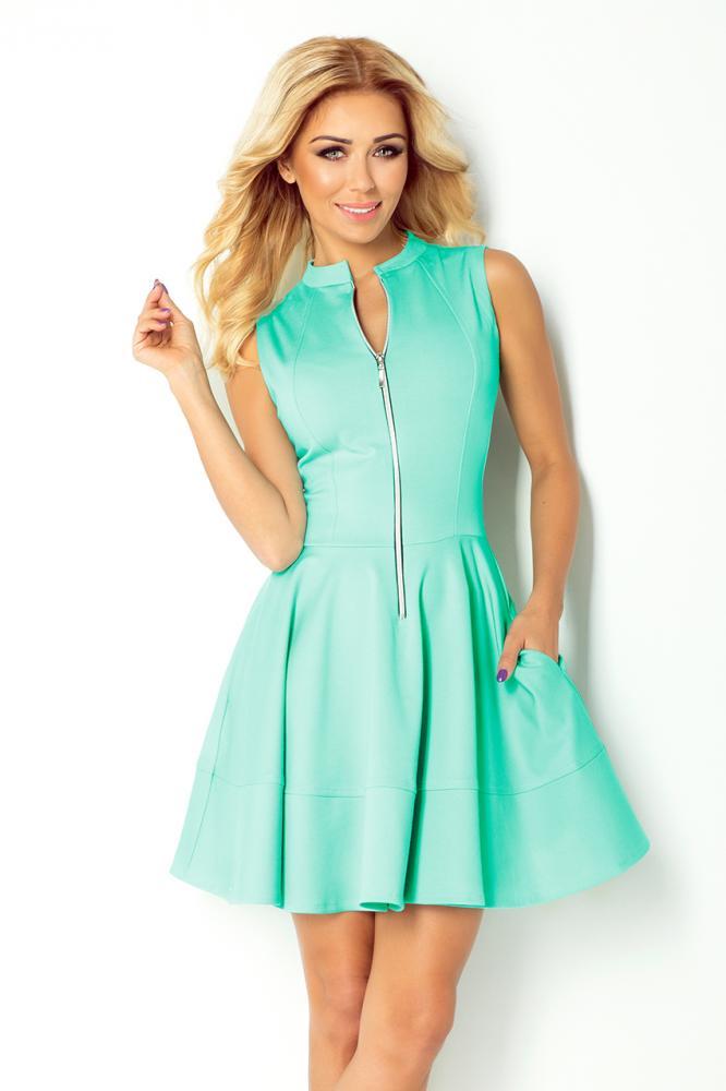 Dámske šaty so zipsom zelená mäta L