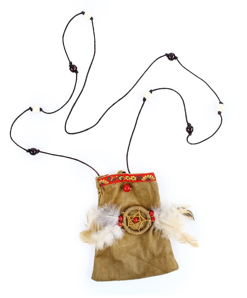 Indiánske vrecúško s perím