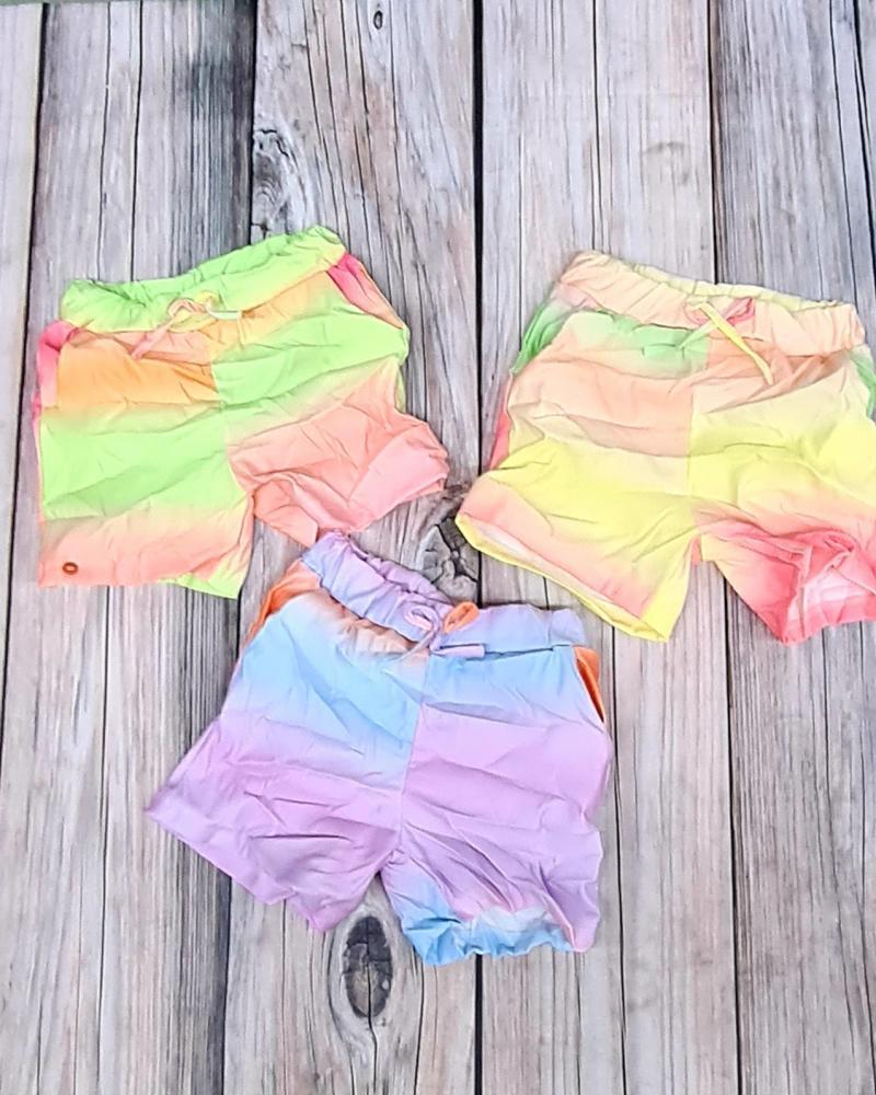Šortky dievčenské krčivé fialové 152