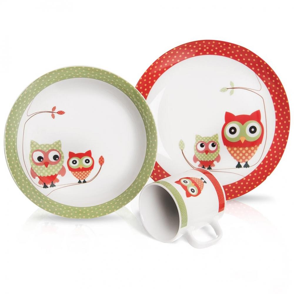 Sada jedálenská porc. detská SOVA 3 ks