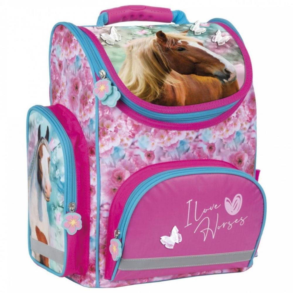 Školská taška koník s kvetmi