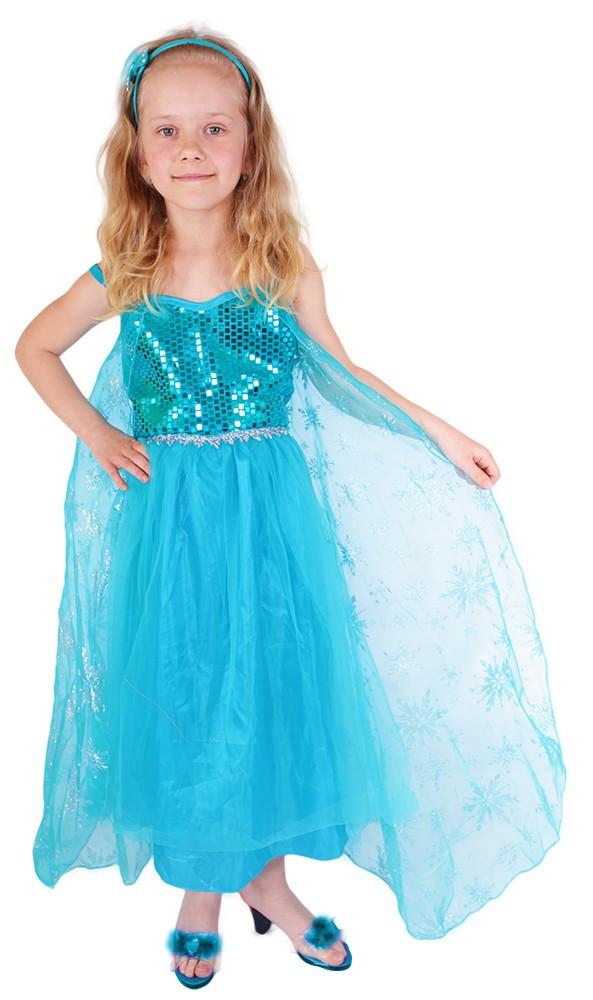 Detský karnevalový kostým princezná Zimná Eliška DELUXE , S