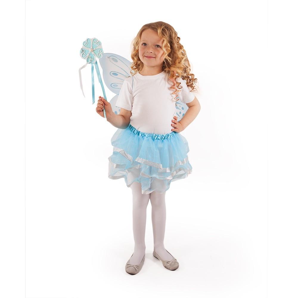 Kostým tutu sukňa modrý motýľ s prútikom  a krídlami