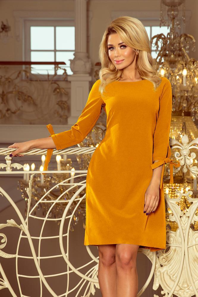 Dámske šaty Alica s viazaním horčicové M