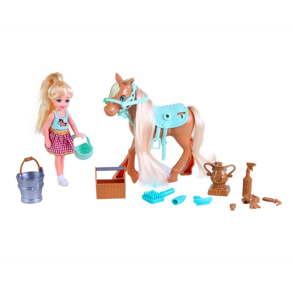 Kôň s bábikou česací s príslušenstvom