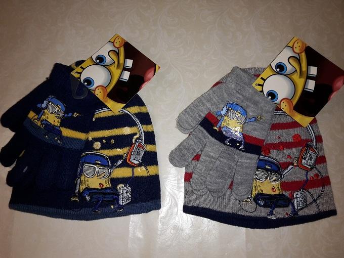 Čiapka a rukavice Sponge Bob tmavomodré a šedé šedá;52