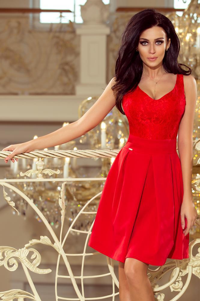 Dámske šaty s krajkovým výstrihom a záhybmi červené S