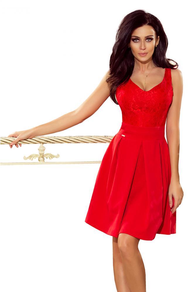 cdbffd6245bb Dámske šaty s krajkovým výstrihom a záhybmi červené