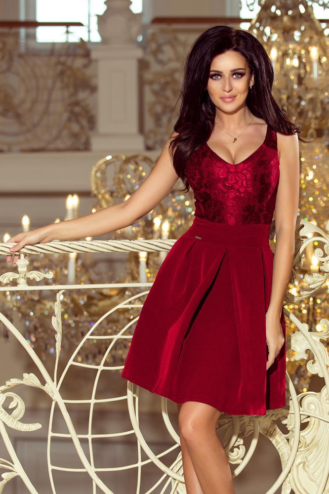 Dámske šaty s krajkovým výstrihom a záhybmi bordové M