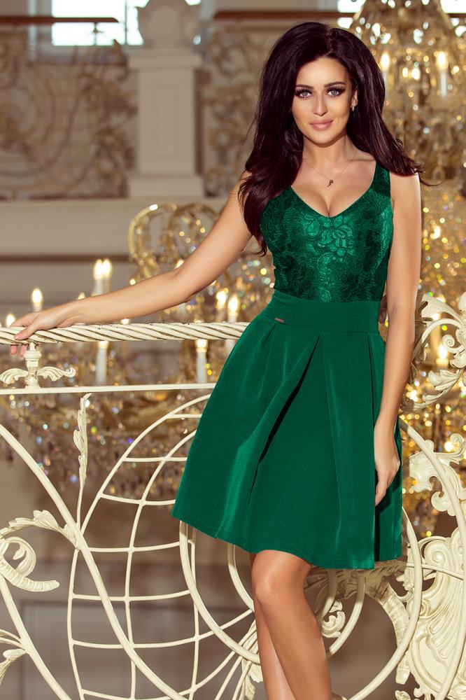 Dámske šaty s krajkovým výstrihom a záhybmi zelené S