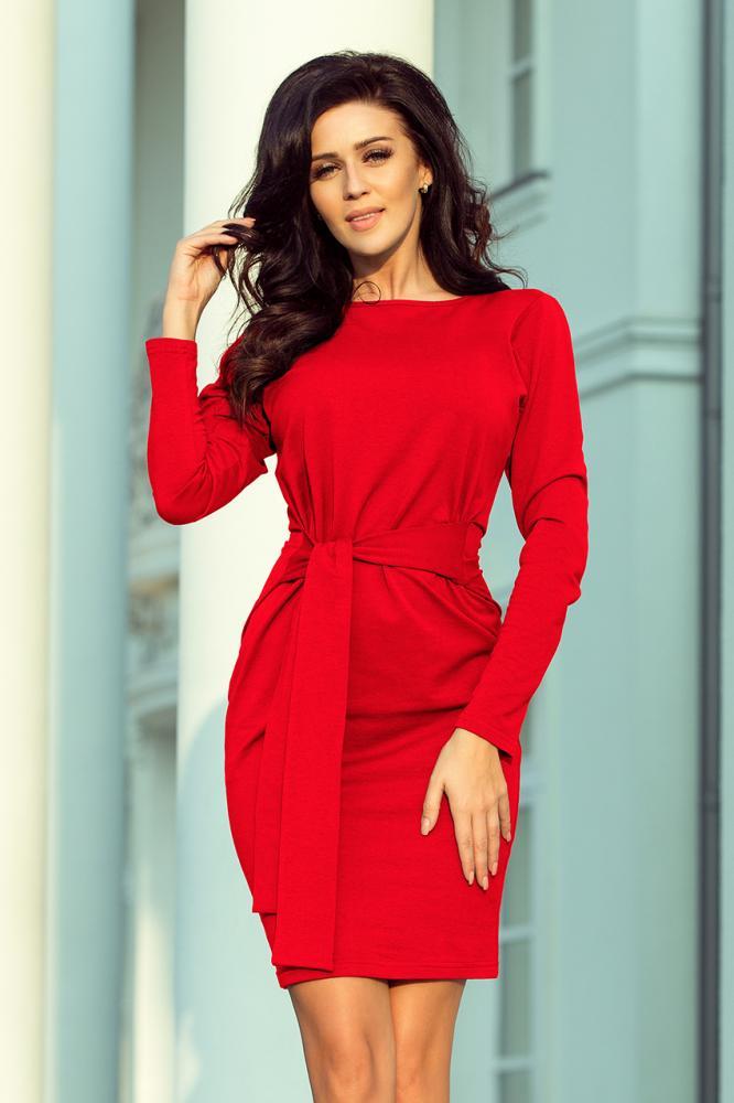 Dámske šaty so širokým opaskom červené S