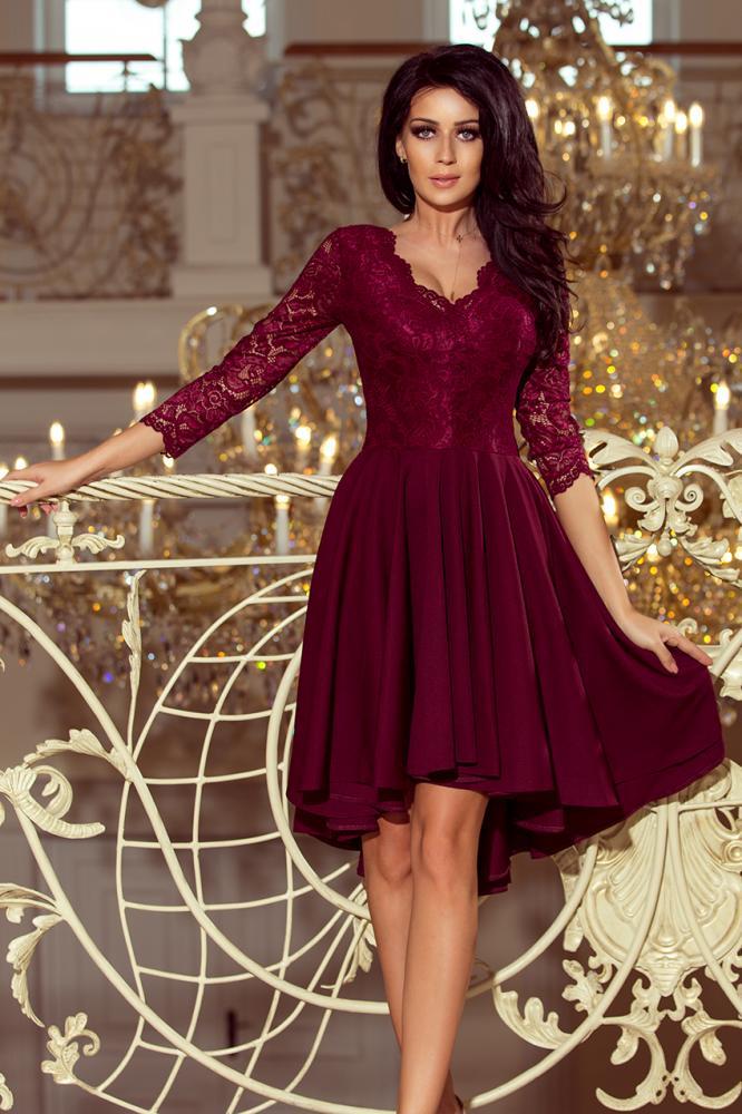Dámske šaty exkluzívne s krajkou Nicolle farba bordová L