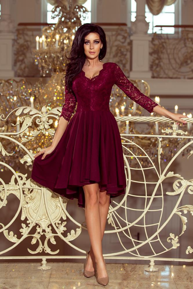 a942e0cddc89 Dámske šaty exkluzívne s krajkou Nicolle farba bordová