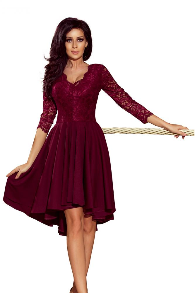 8ea295a07f71 Dámske šaty exkluzívne s krajkou Nicolle farba bordová. Novinka. Obrázok (4)