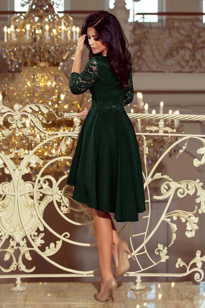 Dámske šaty exkluzívne s krajkou Nicolle tm.zelené L