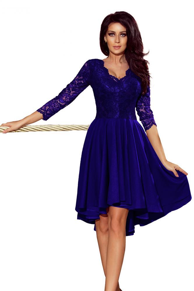 f5cf3da9da07 Dámske šaty exkluzívne s krajkou Nicolle tm.modré