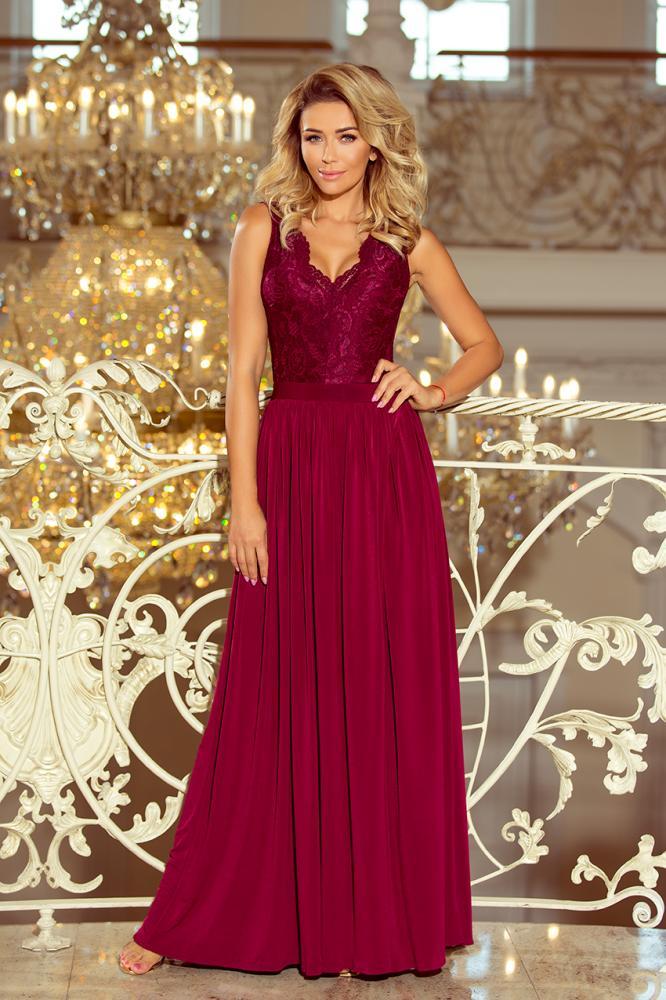 Dámske šaty dlhé Lea s čipkovým výstrihom bordové L