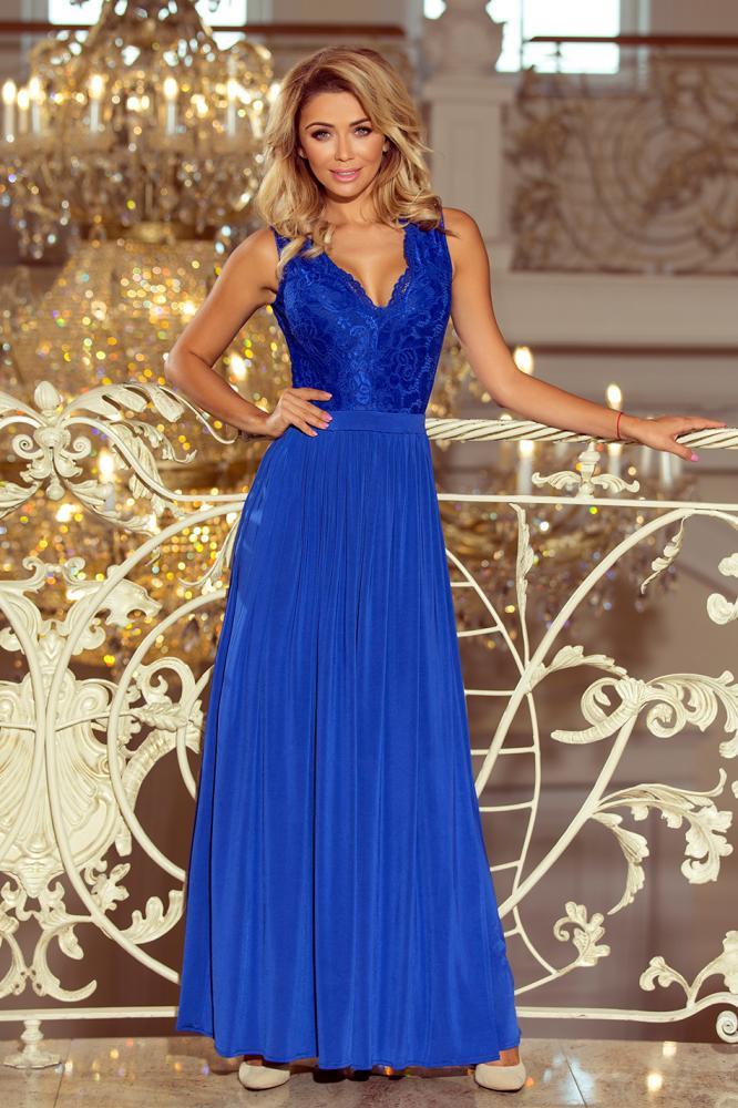 Dámske šaty dlhé Lea s čipkovým výstrihom tm.modré S