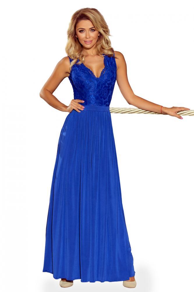 302556dc9904 Dámske šaty dlhé Lea s čipkovým výstrihom tm.modré