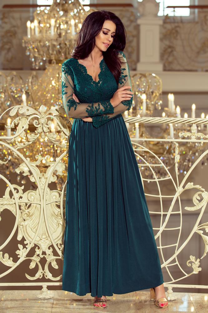 Dámske šaty dlhé Arati s vyšívaným výstrihom a rukávmi zelené L