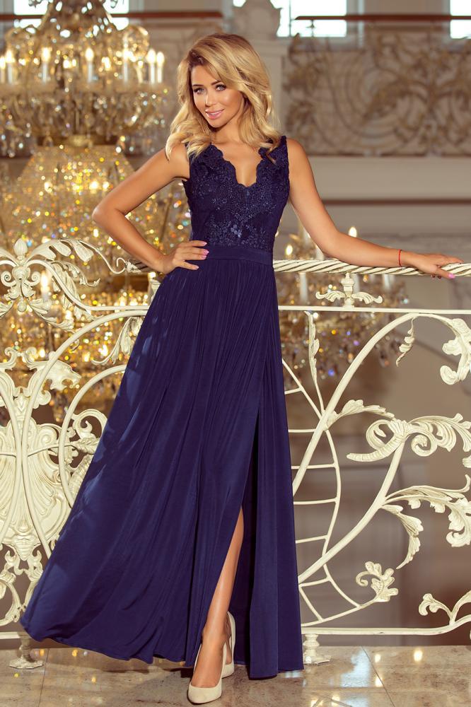 Dámske šaty dlhé Lea s čipkovým výstrihom GRANAT XL