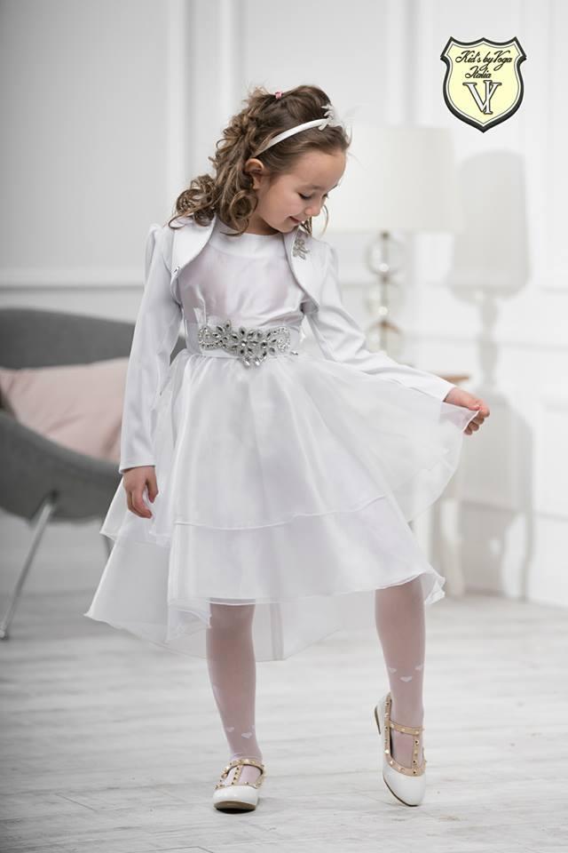 a4ad3bb55caf Dievčenské slávnostné šaty biele s kamienkami