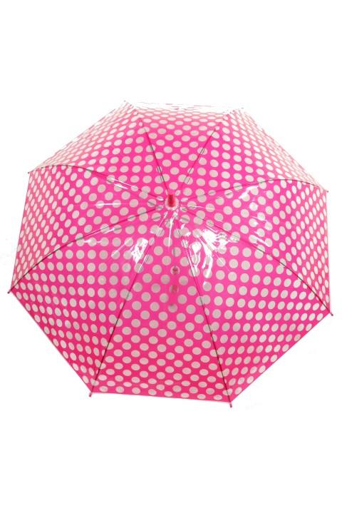 Dáždnik hríbik Bodka priehľadný pre dospelých šedý