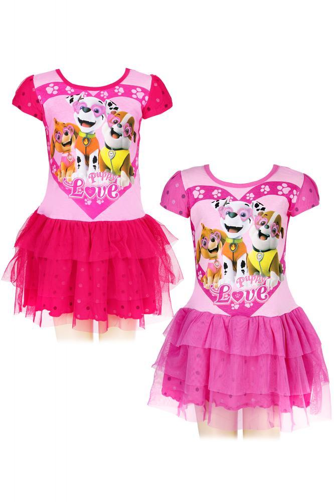 Dievčenské šaty Tlapkova Patrola (Paw Patrol) ružové a malinové malinové,98