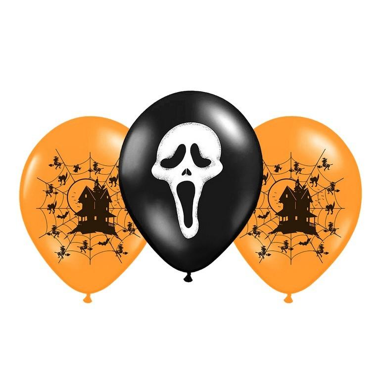 Balónik Halloween 3ks v sáčku s potlačou