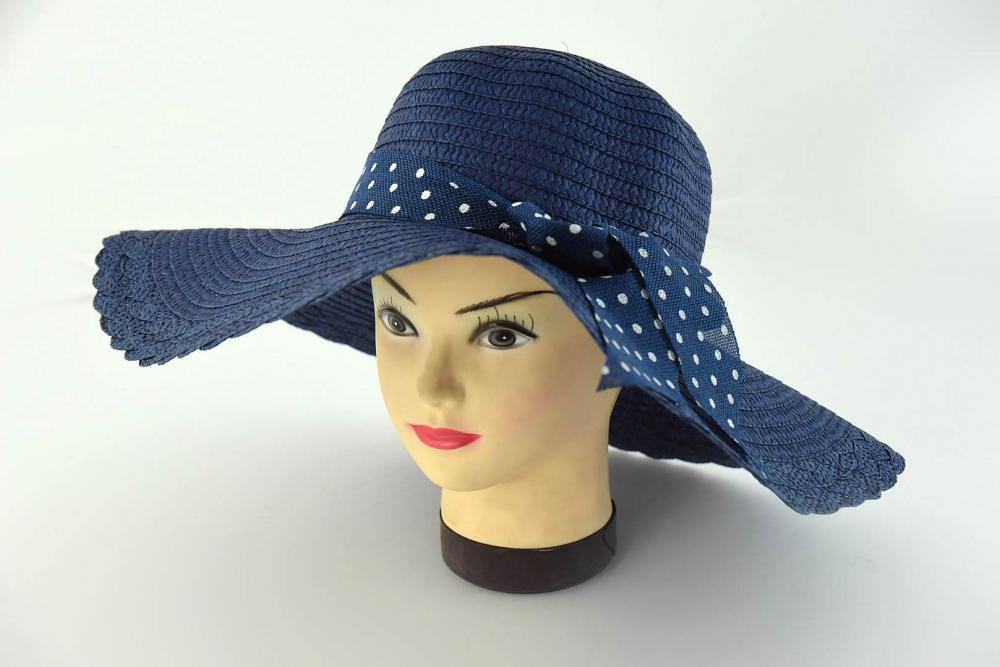 Klobúk dámsky s mašľou modrý