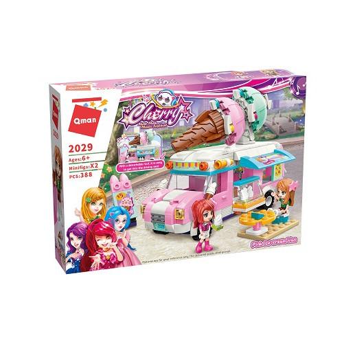 Stavebnica Qman Cherry - Zmrzlinové vozidlo ružové