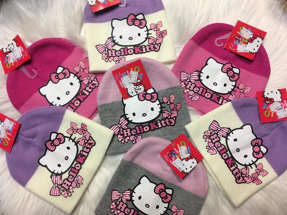 Zimná čiapka Hello Kitty šedá,fialová,ružová fialová;54