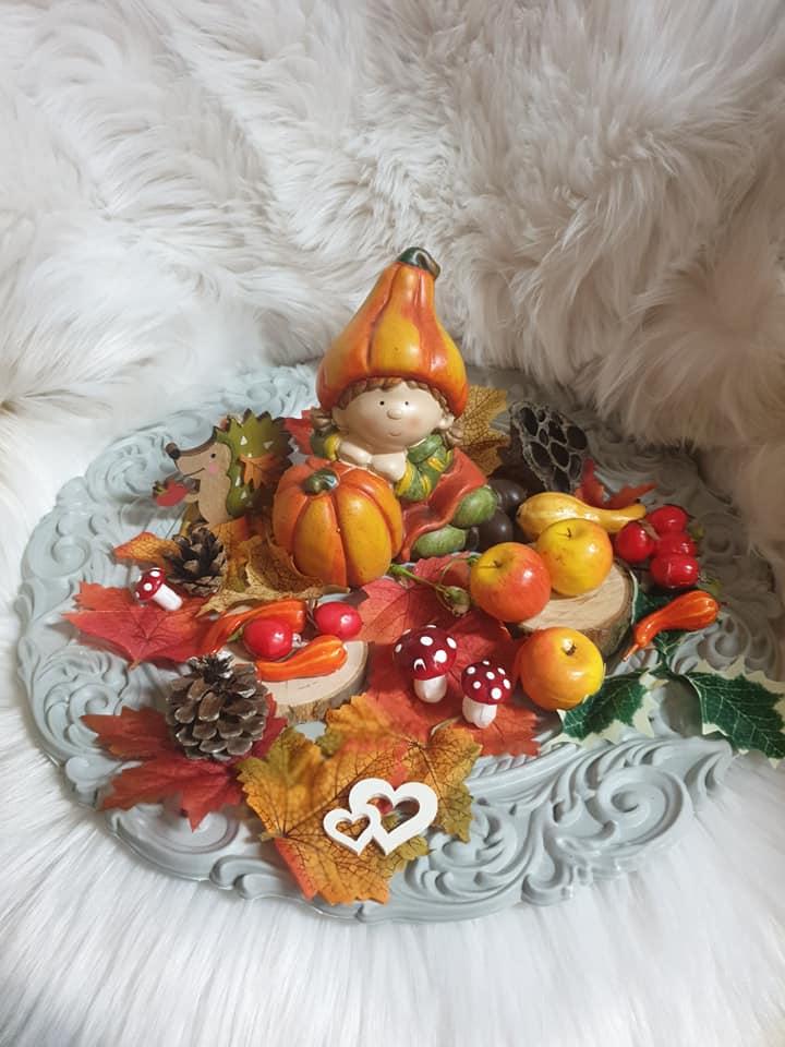Jesenné zdobenie na podnose