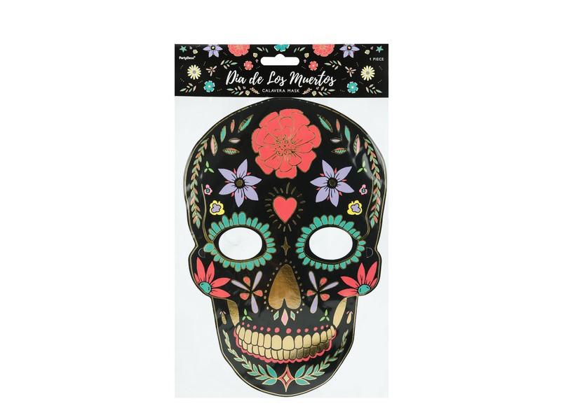 Maska papierová, lebka s ornamentami