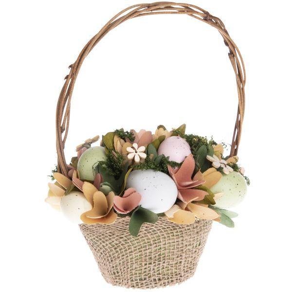 Veľkonočná dekorácia - košík s vajíčkami