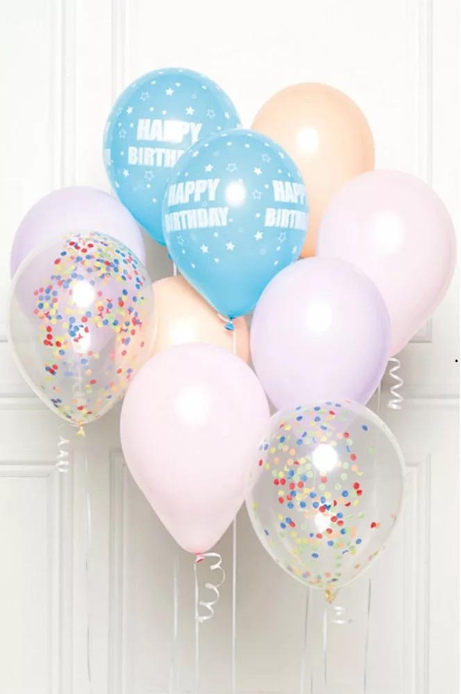 AMSCAN Narodeninové balóny sada 10ks mix so šnúrami, fialové  27,5cm široké