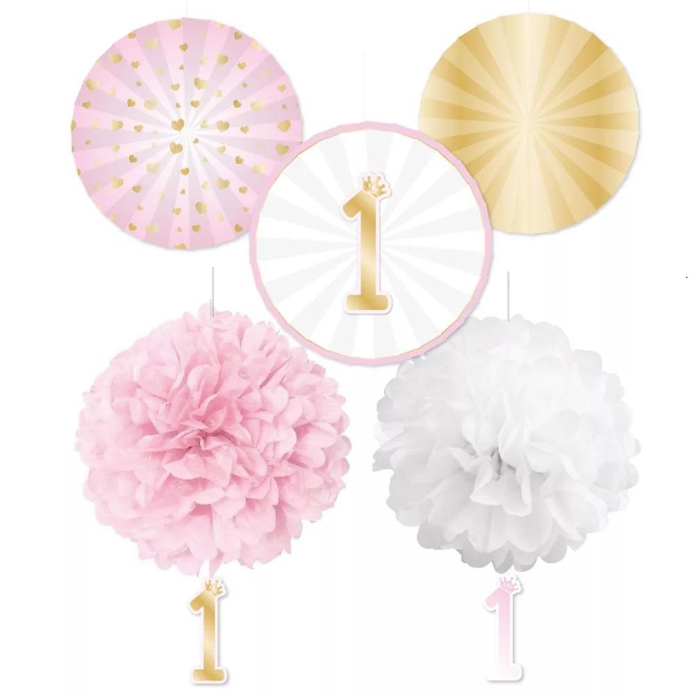 AMSCAN Balónová závesná dekorácia k narodeninám 5ks- ružová