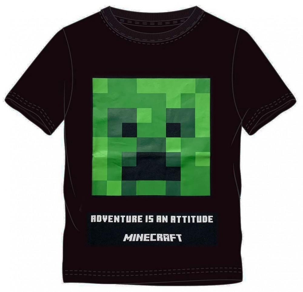 Tričko Minecraft kr. rukáv čierne 152
