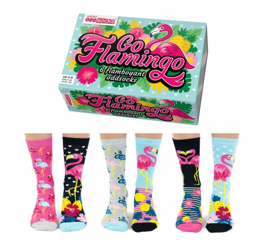 Veselé vzorované dámske ponožky GO FLAMINGO  v darčekovej krabičke- 3 páry 37/42