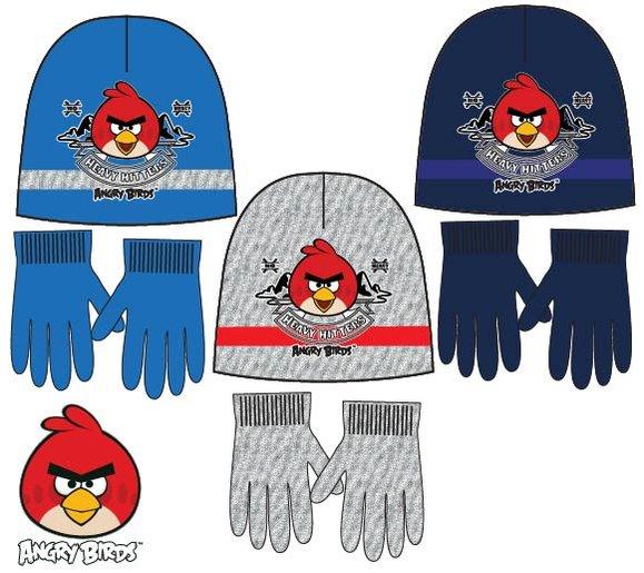 Čiapka a rukavice Angry Birds modré,šedé,tmavomodré modrá;52