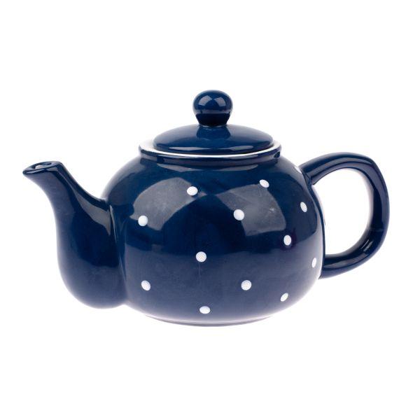 Keramický čajník modrý s bielymi bodkami 1000ml
