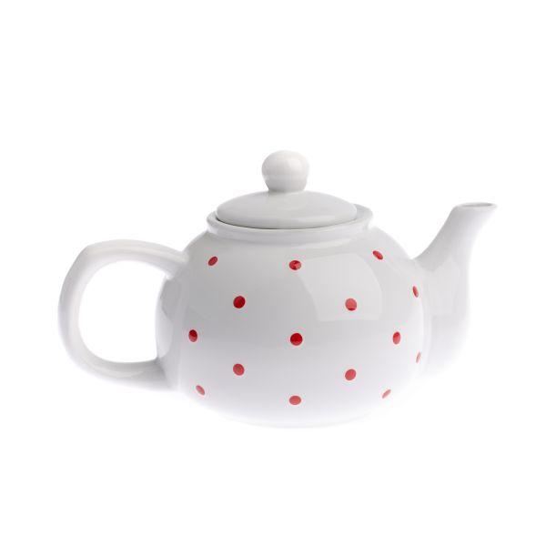Keramický čajník biely s červenými bodkami 1000ml
