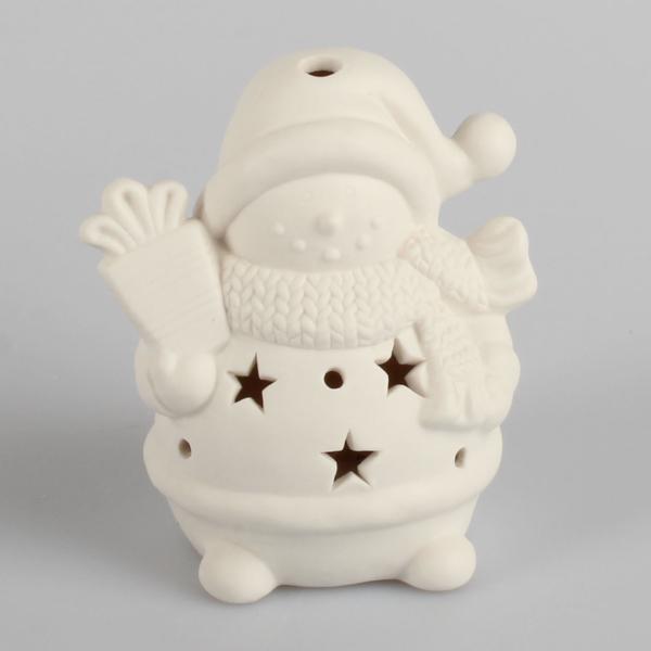 Porcelánový LED snehuliak