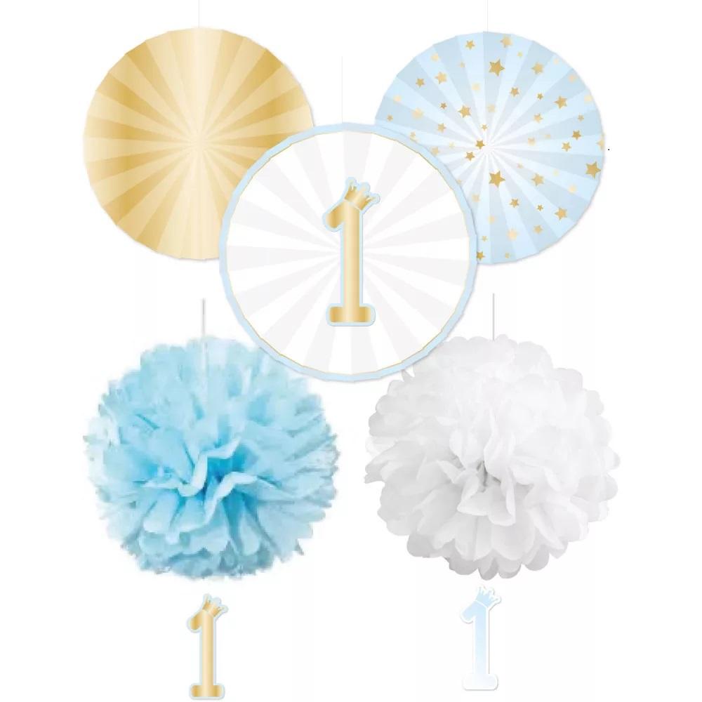 AMSCAN Balónová závesná dekorácia k narodeninám 5ks- modrá