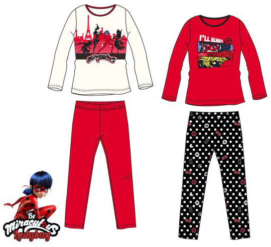 Pyžamo Miraculous Ladybug biele a červené biele, 104