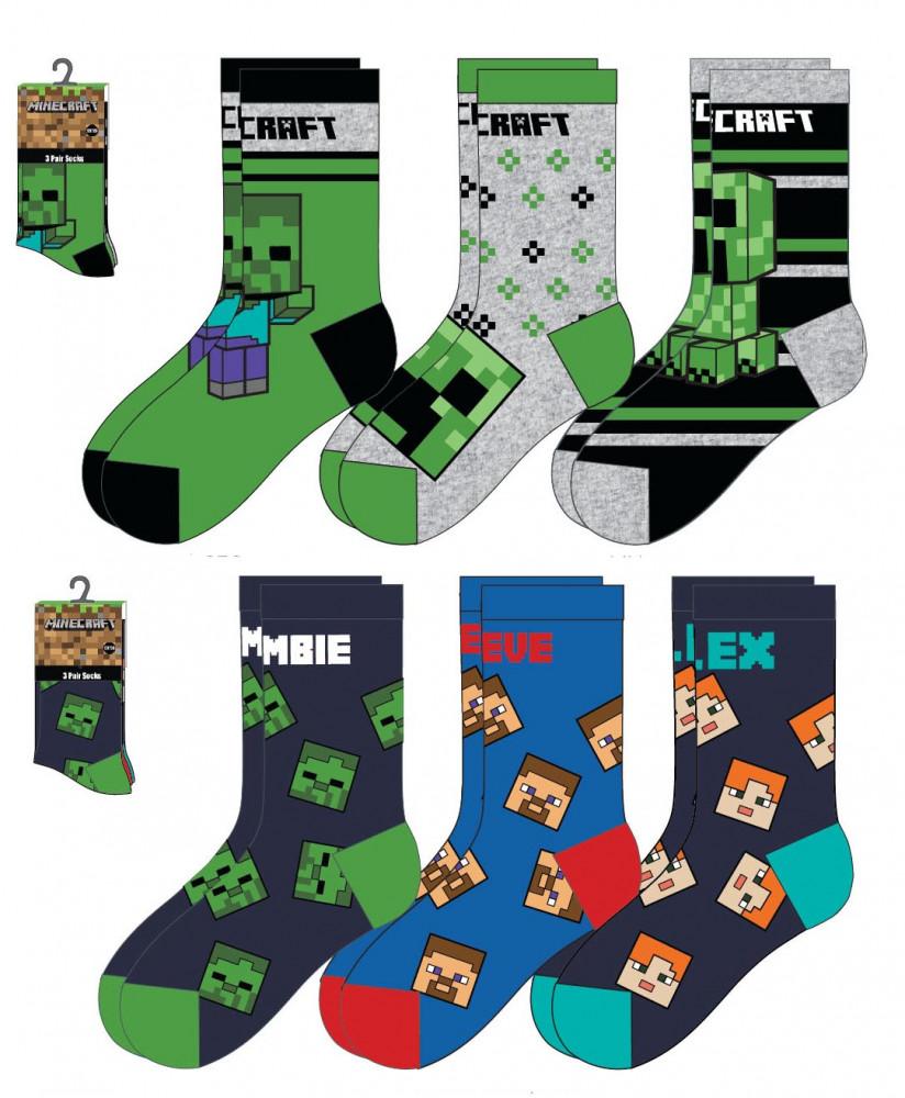 Ponožky Minecraft sada 3 ks 23/26