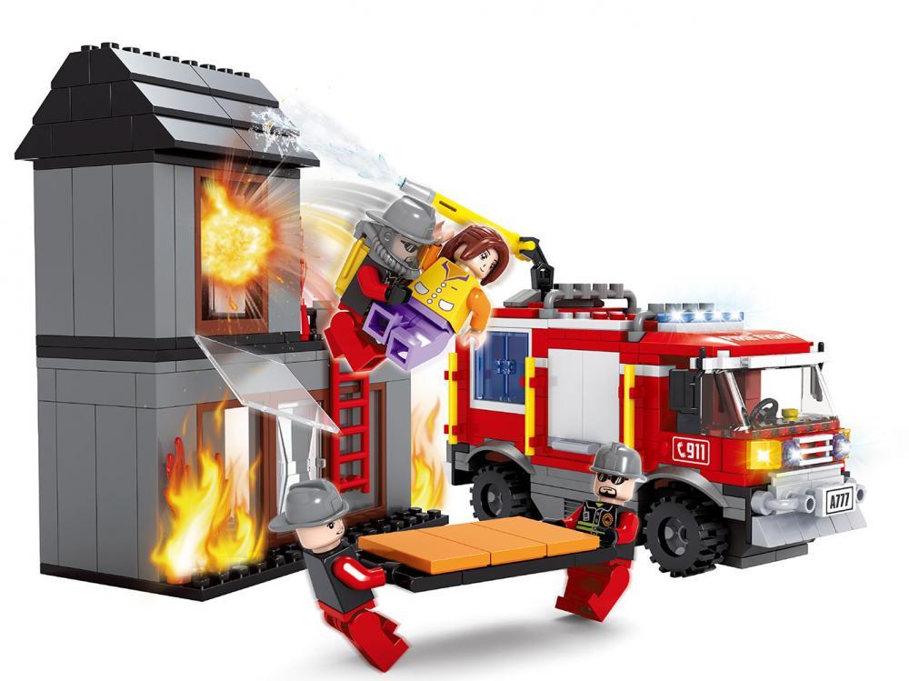 Stavebnica AUSINI požiarnici-horiaci dom 374 dielov- od 6rokov