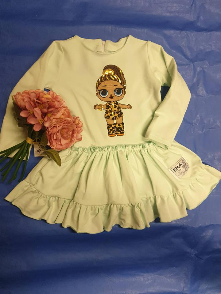 Dievčenské šaty L.O.L. Surprise s volánikmi mentolová farba 80/86