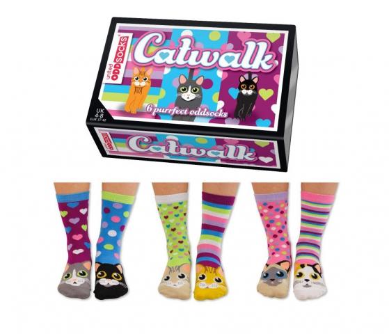 Veselé vzorované dámske ponožky Catwalk  v darčekovej krabičke- 3 páry 37/42